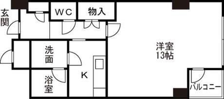 富山市山室 ユー堀川ビル 4階 1K